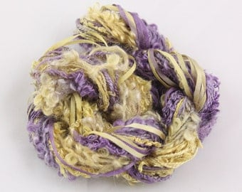 Amythst Purple Gold Silk ribbon Hand Dyed Silk embroidery Thread needlework Weaving yarn Variegated sewing embellishment  quilting thread