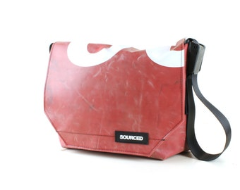 Messenger Bag made from Upcycled Truck Tarp, Laptop Bag, Courier Bag, Eco Friendly and Handmade (N03)
