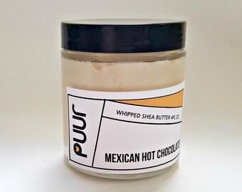 Whipped Shea Butter Mexican Hot Chocolate Raw Shea Body Butter Moisturizing Cream 4oz Chocolate Vanilla Winter Skin Moisturizer VEGAN