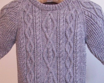 Child's Sweater, Child's Fisherman Cable Sweater, Child's Aran Sweater, Washable Sweater