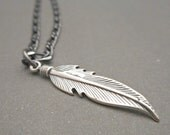 Mens Feather Necklace - Mens Necklace - Feather Pendant - Mens Jewelry - Silver Feather Jewelry - Native American - Gift for Him