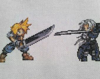 Cloud vs. Sephiroth - framed cross stitch