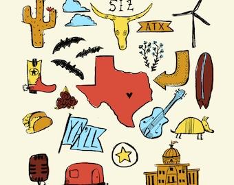 Austin, Texas, ATX , Original 12 x 12 Matte Archival Print
