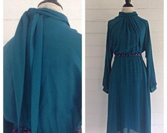 Vintage 1980s Teal SECRETARY Dress