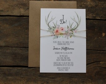Bridal Shower Invitation | Watercolor Antler Invitation | Rustic Invite | Wedding Invitation