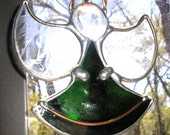 LT Stained glass green Angel suncatcher ornament light catcher this is a dark olive green