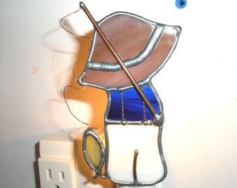 LT Stained glass boy fishing hand made night light lamp indoor lighting