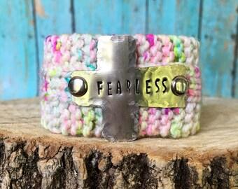 Silver Cross Scripture Bracelet, Custom Stamped Fearless, Christian Knit Cuff Bracelet
