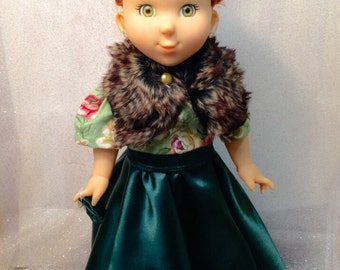 """Clearance 18"""" Doll Gown Dress Fits Any 18"""" or American Girl Fancy Nancy 4 piece Evergreen"""