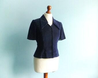 Vintage velvet top blouse jacket blazer / polka dot / navy blue / big colar / short sleeves / crop / small