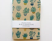 Kraft Blank Notebook, Kraft Blank Journal, Succulent Plant Notebook, Handmade Kraft Journal, Handmade Sketchbook, A7, 5x7, Green, Blue, Teal