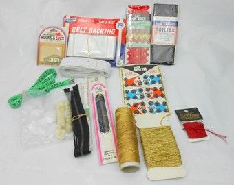 Vintage sewing notions vintage rick rack vintage belt backer PRyM 555 snaps coats and clarks hooks and eyes metal zippers elastic paper tape