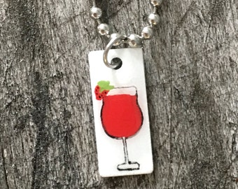 Hand Painted Strawberry Daiquiri on Stainless Steel Charm on Bracelet