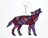 Wolf Stained Glass Suncatcher, Geometric Art, Geometric Stained Glass, Stained Glass Wolf, Geometric Wolf