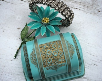 Yes I Am This Gorgeous Antique Celluloid Art Deco Turquoise Presentation Box