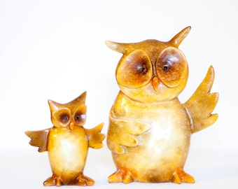 Vintage owl statues, orange yellow owl figures, set of two