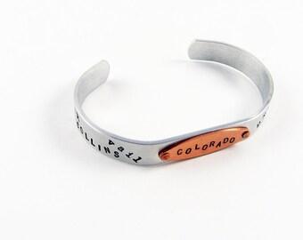 Colorado Jewelry (Stamped Bracelet with Denver, Boulder, Colorado Springs, Fort Collins, Aspen, Vail)