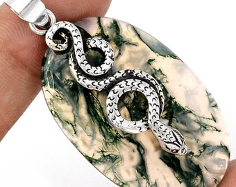 Large and Beautiful Abstract Moss Agate Pendant, Silver Snake, One of a Kind, with Organza Cord