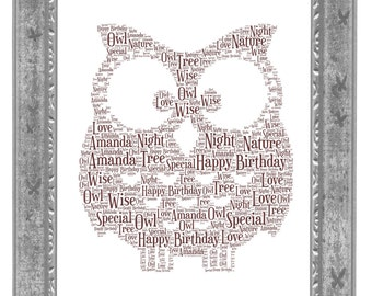 Owl Personalised Word Art Print Unique Gift