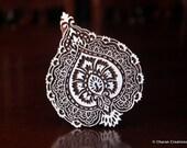 Indian Wood Block Stamp, Tjaps, Hand Carved stamp, Pottery stamp, Textile Stamp- Paisley/Floral Motif