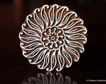 Indian Wood Block Stamp, Tjaps, Hand Carved stamp, Pottery stamp, Textile Stamp- Round Floral