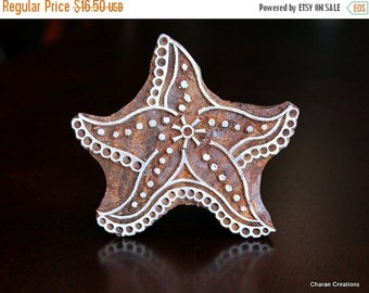 THANKSGIVING SALE Hand Carved Indian Wood Textile Stamp Block- Starfish