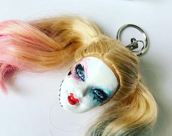 Harley Quinn Doll Head Keychain Batman Joker Suicide Squad Keyring Key Chain Curly Hair