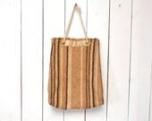70s Wool Tote Bag Beige Tan Striped Vintage Hippie Boho Bag Woven Drawstring Shoulder Bag