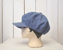 Denim Poor Boy Hat Newsboy Hat Vintage Early 90s Does 70s Beatnik Hipster Fitted Hat Medium Size 7