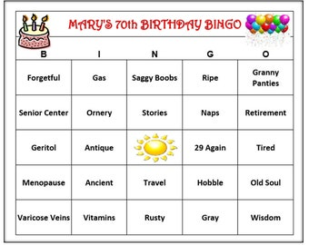 Personalized 70th Birthday Party Bingo Game Funny Age Themed Words Very Fun And