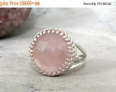 MOTHERS DAY GIFT - silver pink ring,rose quartz ring,sterling silver ring,rose quartz jewelry,love silver ring,girlfriend gift,October