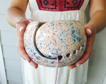 Knitting Yarn Bowl | Handmade Ceramic | Yarn Bowl and Knitting Accessories | Pink and Blue handmade in my Charleston, SC studio