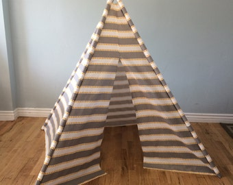 Gray, Grey, White, Yellow, Striped, Stripe, Play Teepee, Tee Pee, Tent (poles included)