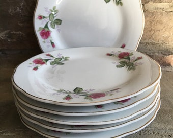 Vintage Moss Rose Plates Bread / Dessert / Salad Set 6 Made in China - #5800