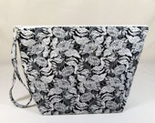 Knitting Project Bag - Large Zipper Wedge Bag in Black and White Floral Fabric with Gold Chevron Lining