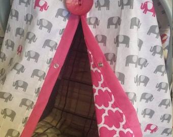 Carseat Canopy Elephant Lattice Reversible