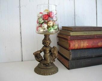 Vintage Metal Cherub Figurine Statue Candleholder Candle Holder Riding Fish Bronze Glass Classic Vase Cottage Chic Hollywood Regency