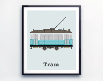 Decor for Toddlers Room, little boy prints, Tram Print, City vehicles, public transport, Transport Room Decor, Print for toddlers, city tram