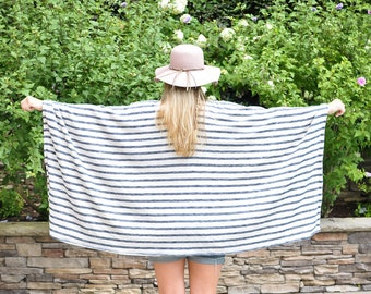 Blue and White Stripe Poncho Wrap
