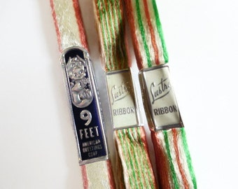 Three Packages of Vintage Lustro and American Greetings Acetate Rayon Ribbon