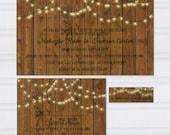 Wood Grain Wedding Invitation, Hanging Light Wedding Invitations, String Light Wedding Invites, Barn Wood, Engraved Wood, SAMPLE