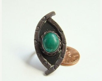 ON SALE Turquoise Sterling Silver Ring Taxco Mexico Green Size 6 Mexican Jewelry Boho Bohemian Chic