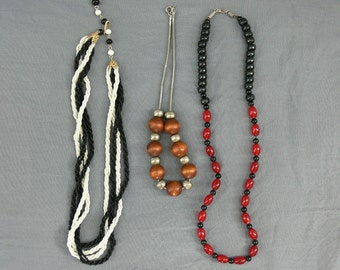 Lot 3 Vintage 60s Beaded Necklaces Chokers Chains Red Black Wood Metal