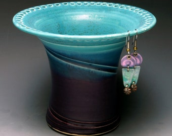 Turquoise and Amethyst Earring Holder