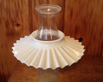Rare Antique Reflector Shade L.G. Wright Crimped Milk Glass Oil & Kerosene Lamps