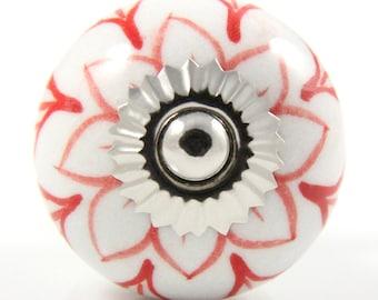 Round ceramic knob with red layered flower design 3.8cm RED013