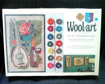 Mid Century DIY Wool-Art Siesta Wall Decor 1960s Hallman Products Deadstock in Box
