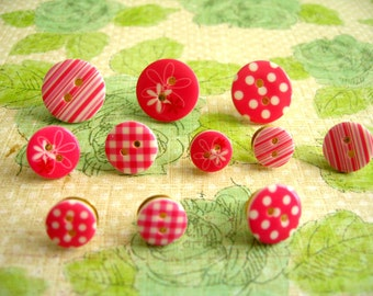 Pink Color Style Button Push Thumbtack, Button Push Pins, Sewing Button Decoration, Pink Color Push Pins