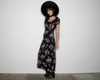 Rose Print Maxi Dress 90s Vintage Sundress Boho Grunge VTG Size S/M