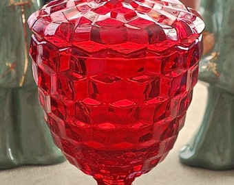 """Fostoria """"AMERICAN"""" ruby red Footed Candy with cover"""